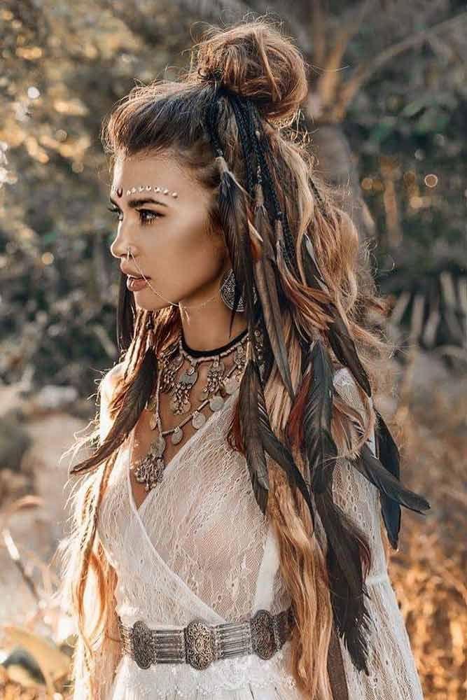 60 Best Bohemian Hairstyles That Turn Heads Bohemian Lace Dress Bohemian Hairstyles French Lace Dress