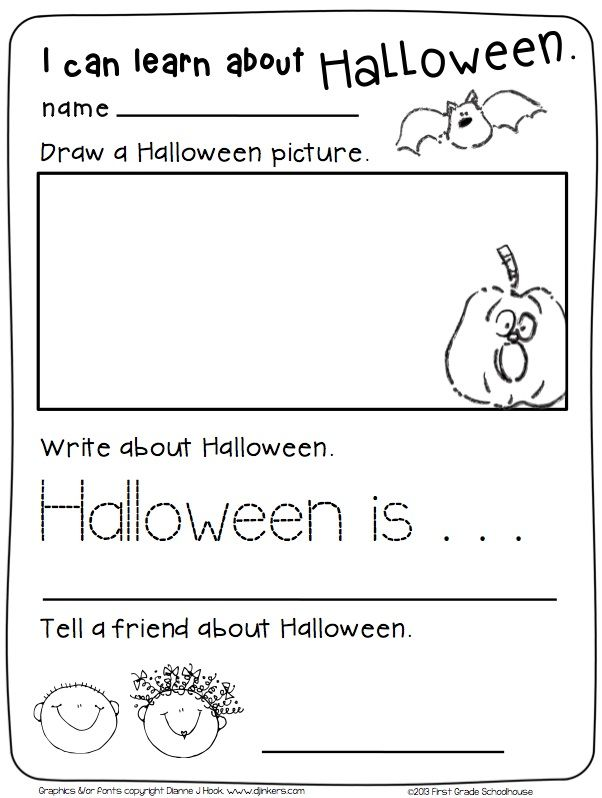 Halloween Writing For Kindergarten Writing