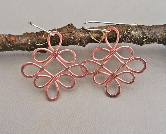 Looping Celtic Crossed Knots Copper Earrings, Celtic Jewelry, Celtic ...