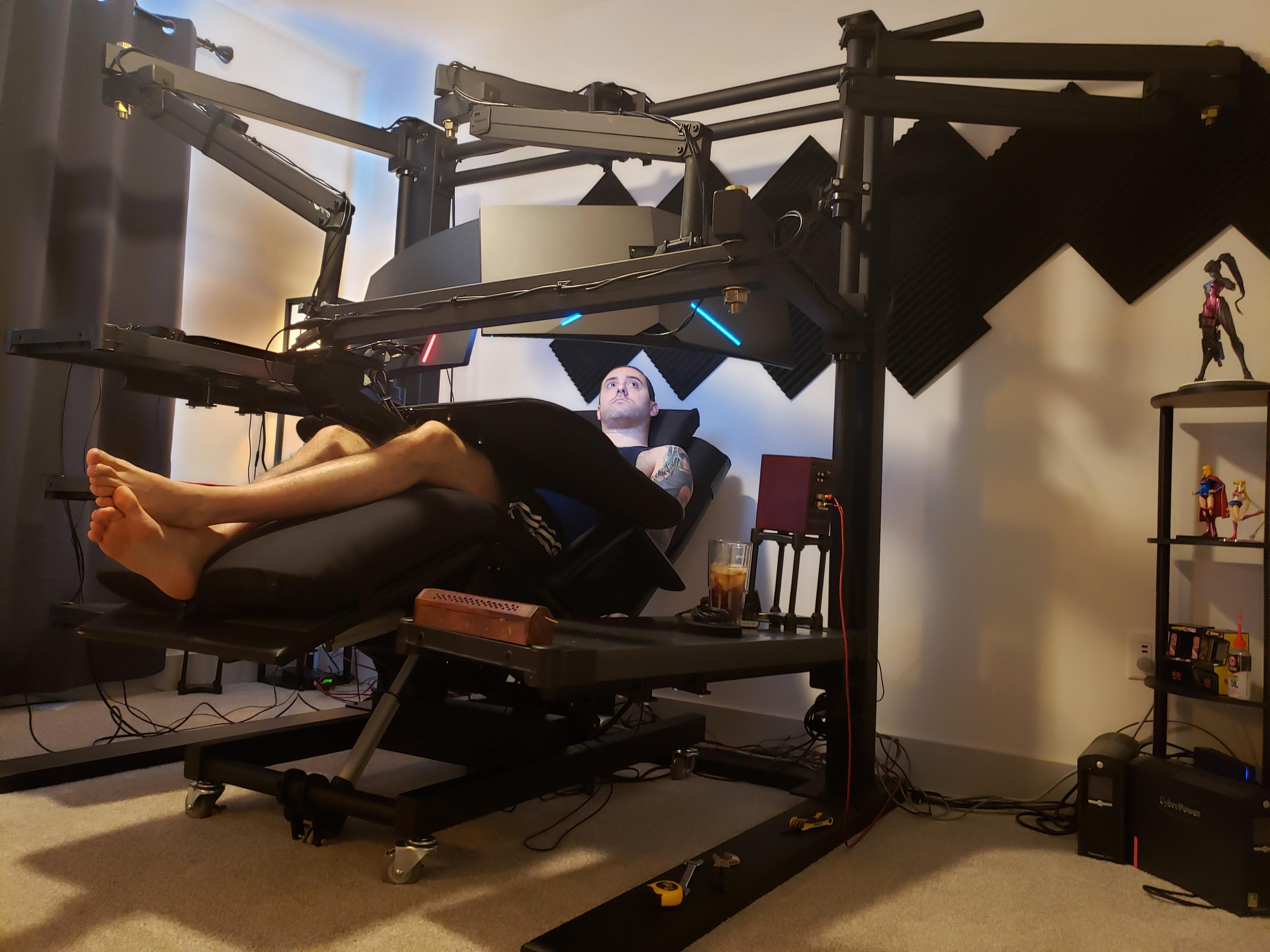 Looks Like He Modified A Squat Rack Stand Into A Computer Desk