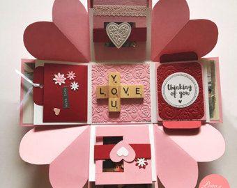 Liebe Explosion Box / / Love Explosion Box / / Überraschung explodierenden Kisten-Karte / / rosa rot Explosion-Kisten-Karte / / Valentine Explosion Feld