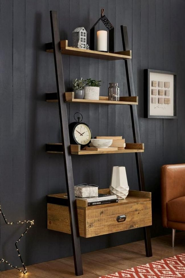 19 The True Story About Ladder Shelf Decor Living Room Ideas Shelf Decor Living Room Ladder