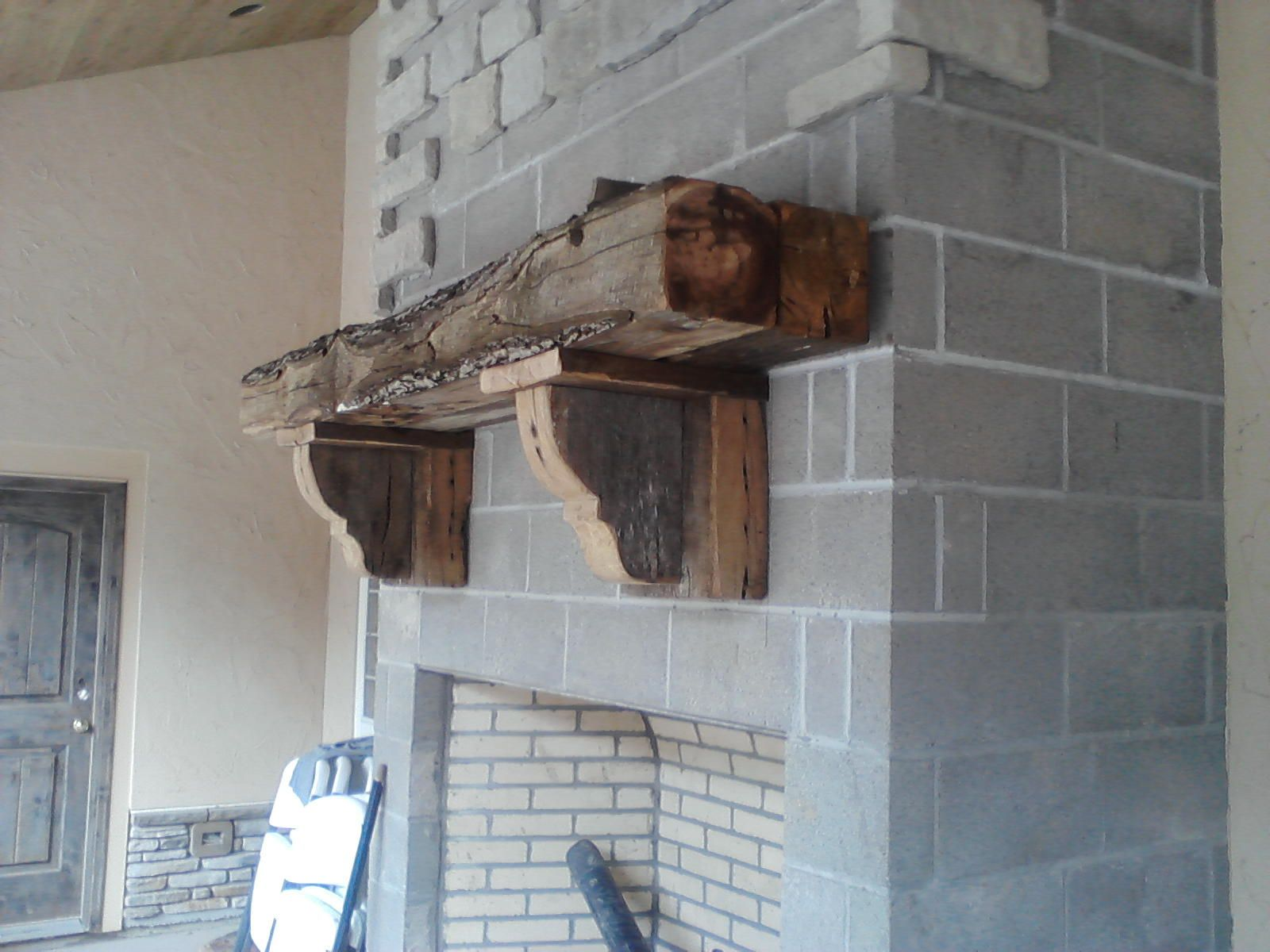 sawn barn beam mantle w reclaimed oak corbels reclaimed wood