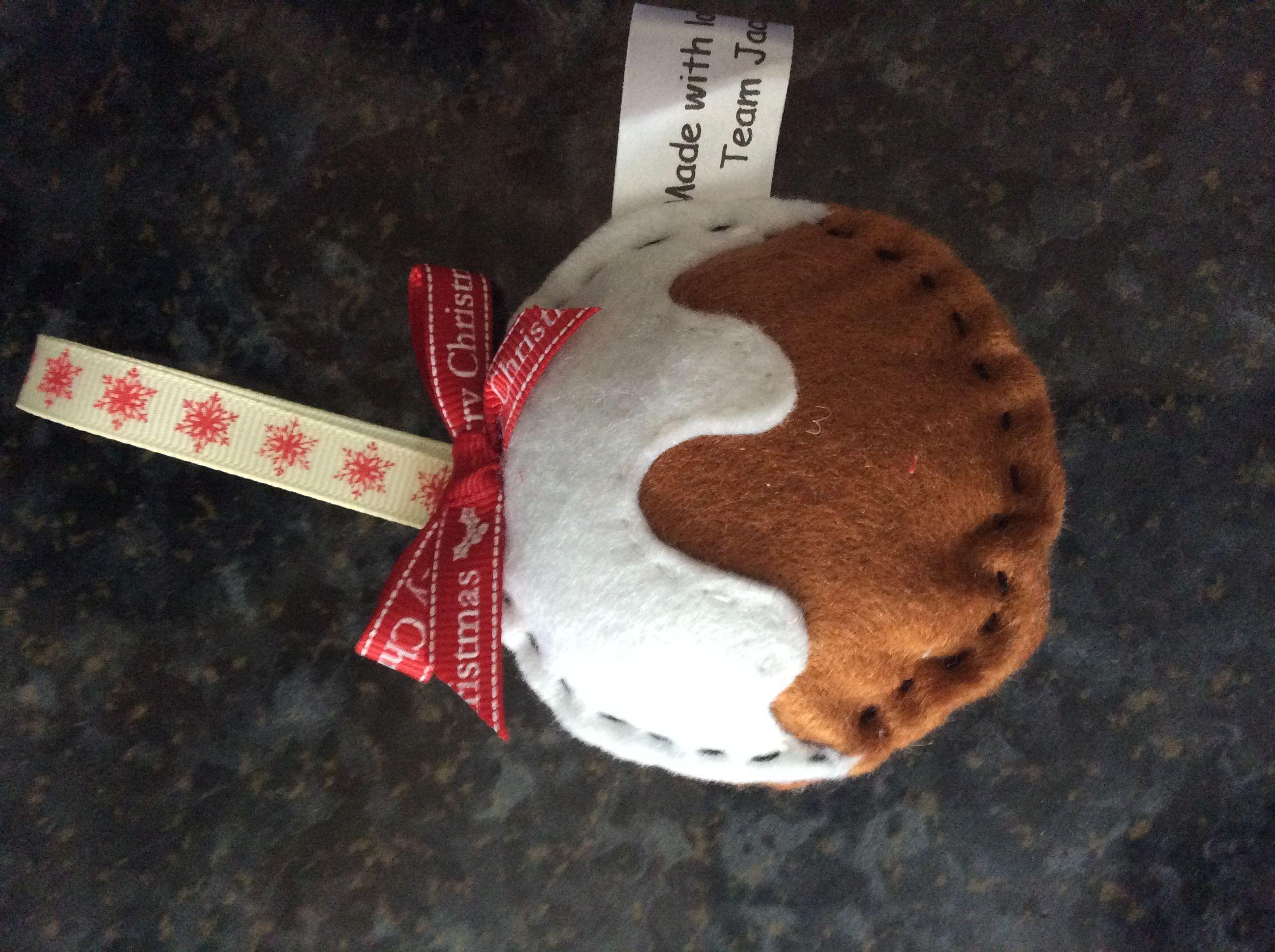 Hand made felt Xmas pudding decoration