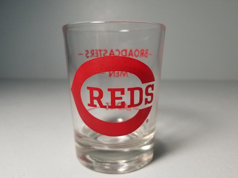 Vintage Cincinnati Reds C Logo 5 Oz Broadcasters Shot Glass Etsy Shot Glass Glass Cincinnati Reds