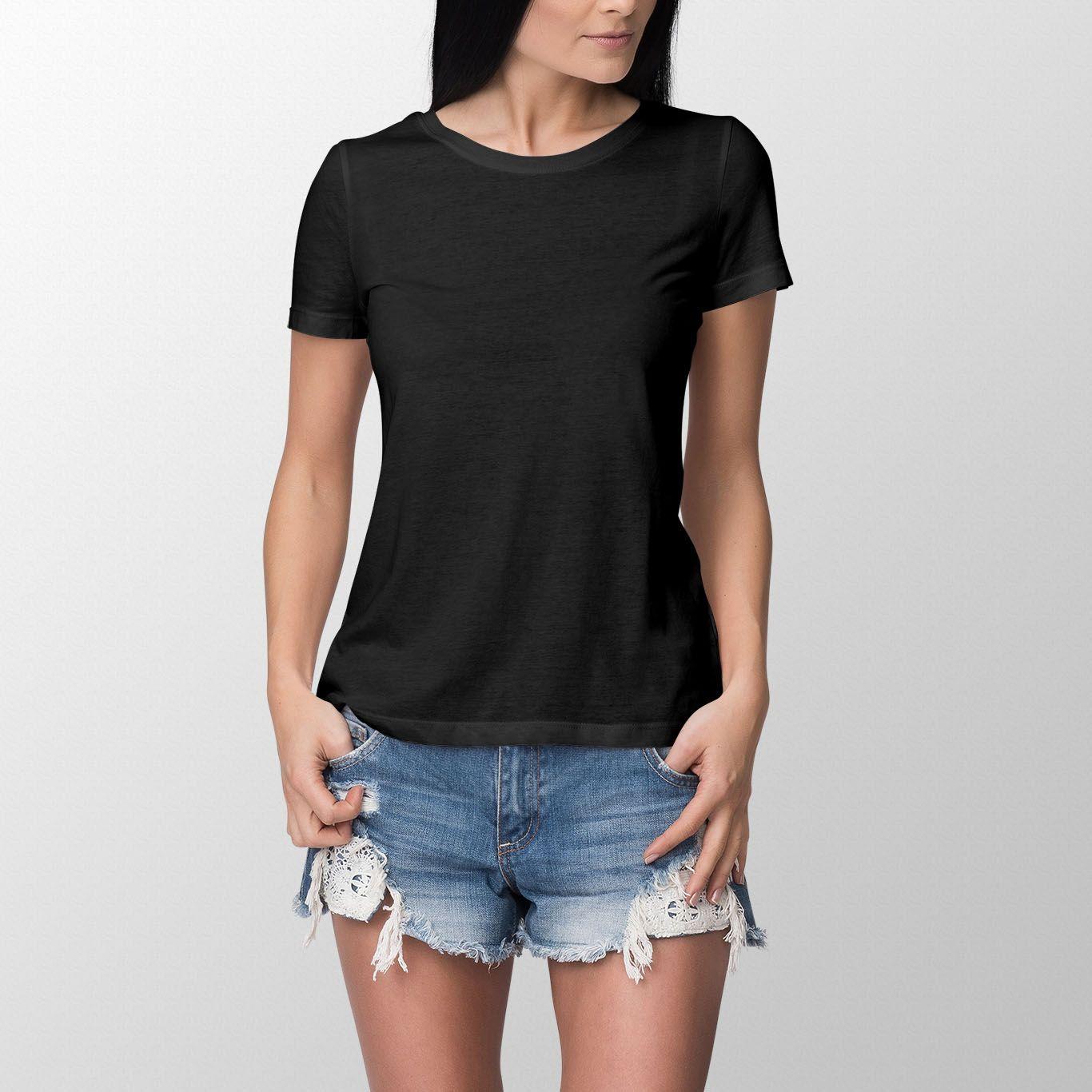 Plain Black T Shirt Women Back View Colorcapital