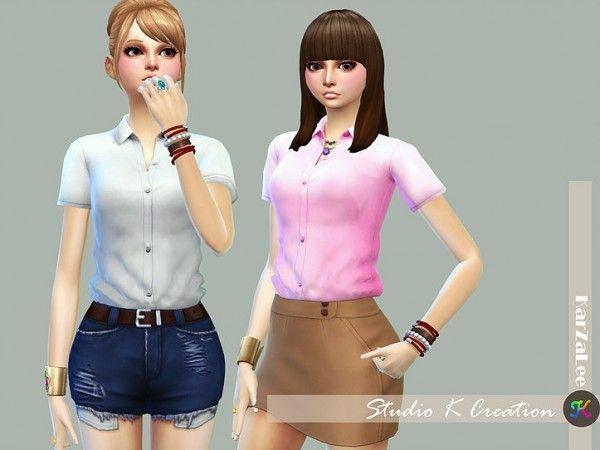 Studio K Creation: Tucked Plain shirt • Sims 4 Downloads