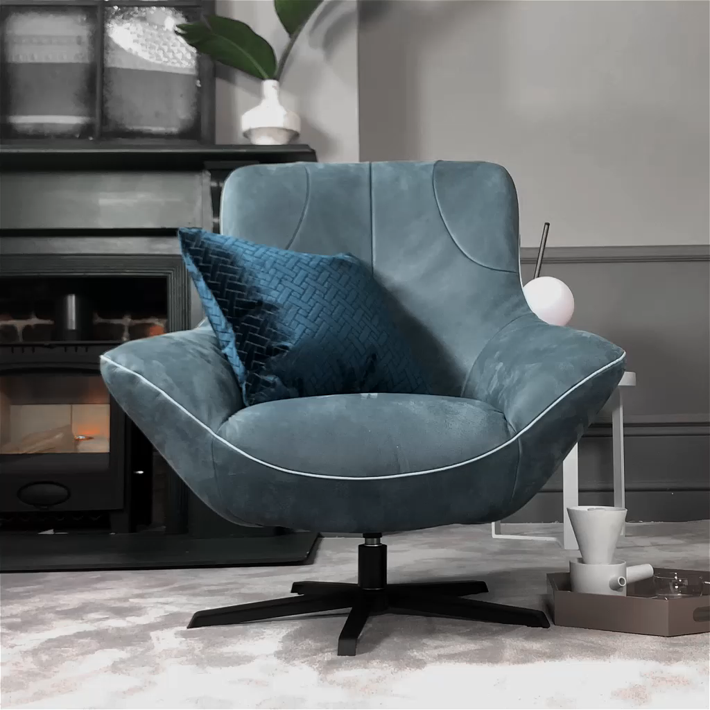 The Rico King armchair will have your head in a spin for all the right reasons. It features an inviting shape with inward-sloping arms for a welcoming feel and high back for ultimate comfort.