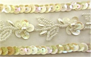 CHINA WHITE SEQUIN TRIM WITH BEADS