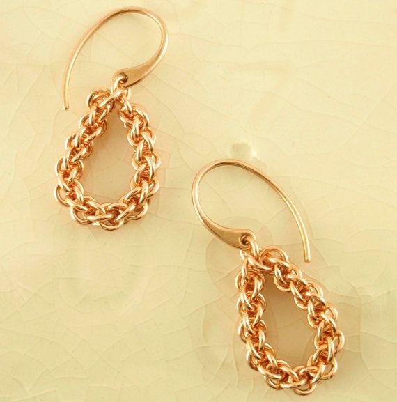Teardrop Bronze Chain Earrings Jens Pind Chainmaille