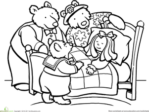 Color Goldilocks And The Three Bears Worksheet Education Com Bear Coloring Pages Goldilocks And The Three Bears Coloring Pages