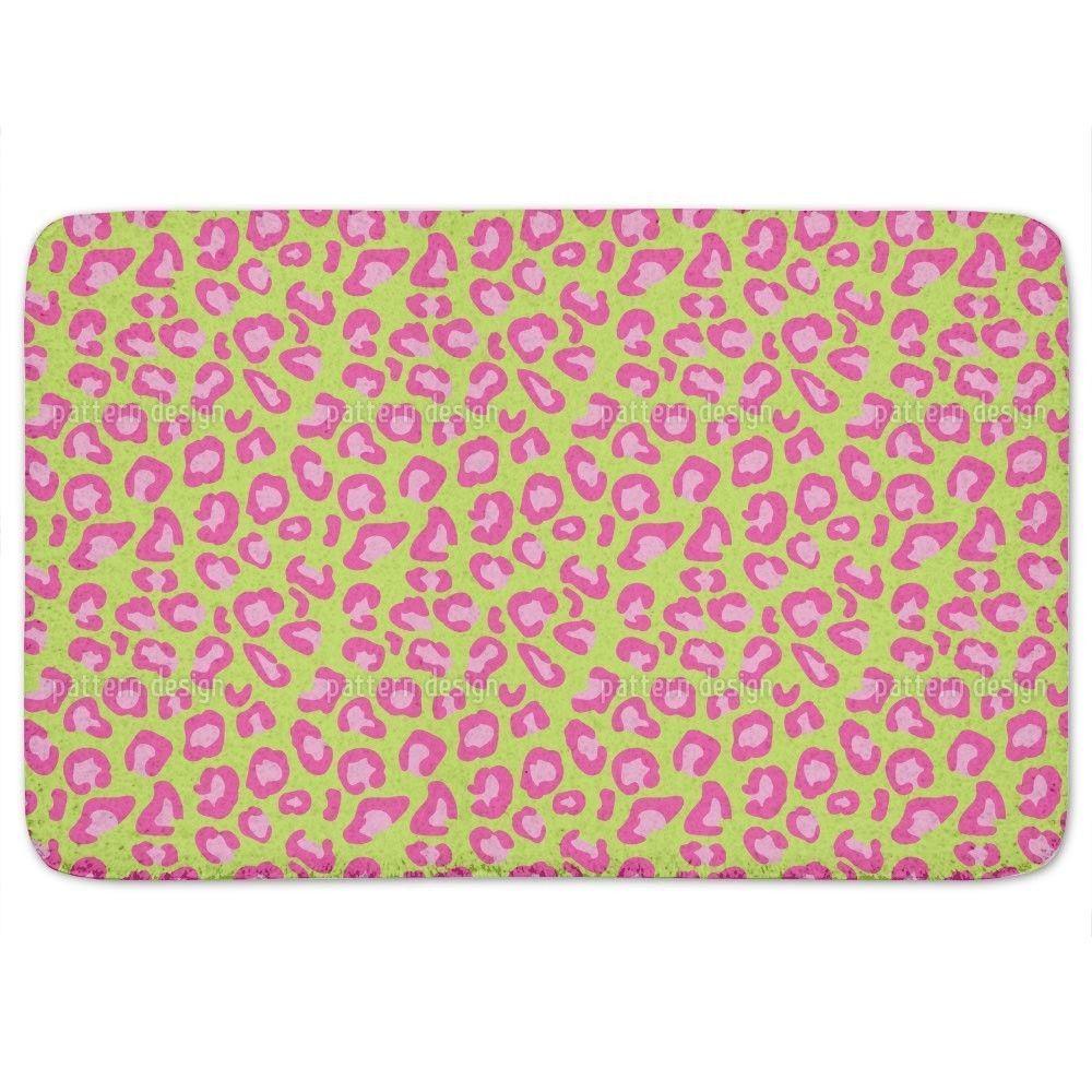 Uneekee Leopard Animalprint Lime Bath Mat