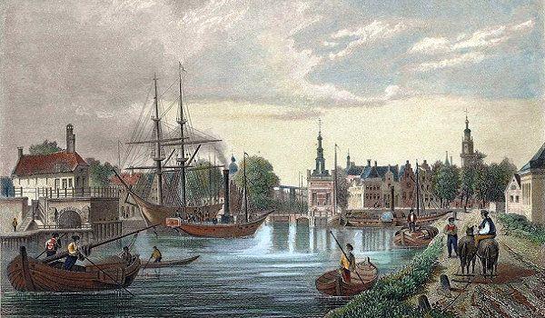 Gezicht op Alkmaar met Bierkade en Accijnstoren door L. Oeder(1860)