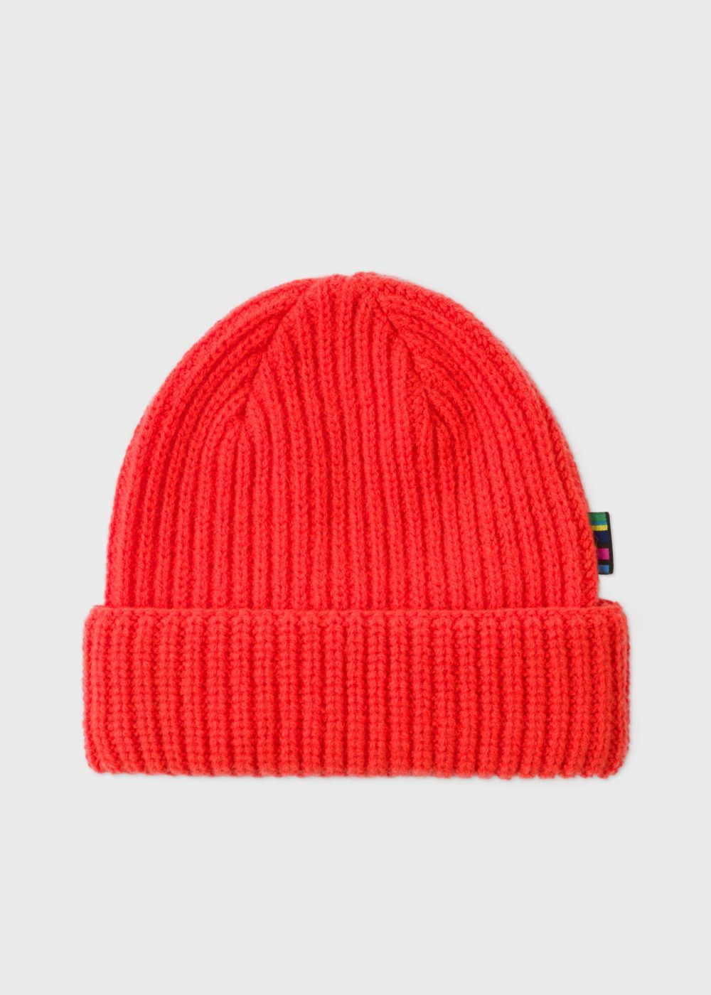 71e5e3868b3 Men s Neon Red Wool Beanie Hat by Paul Smith