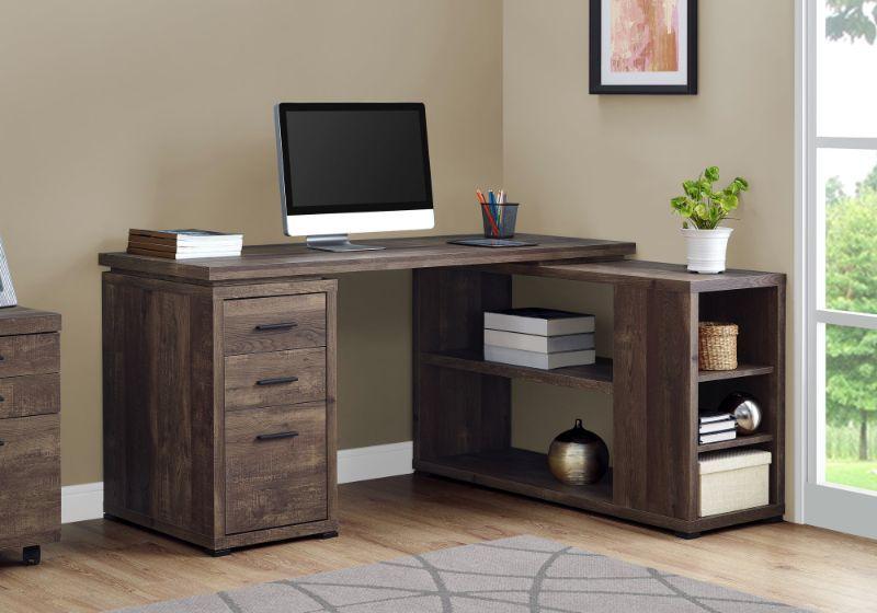 Computer Desk Brown Reclaimed Wood L R Facing Corner In 2020 L