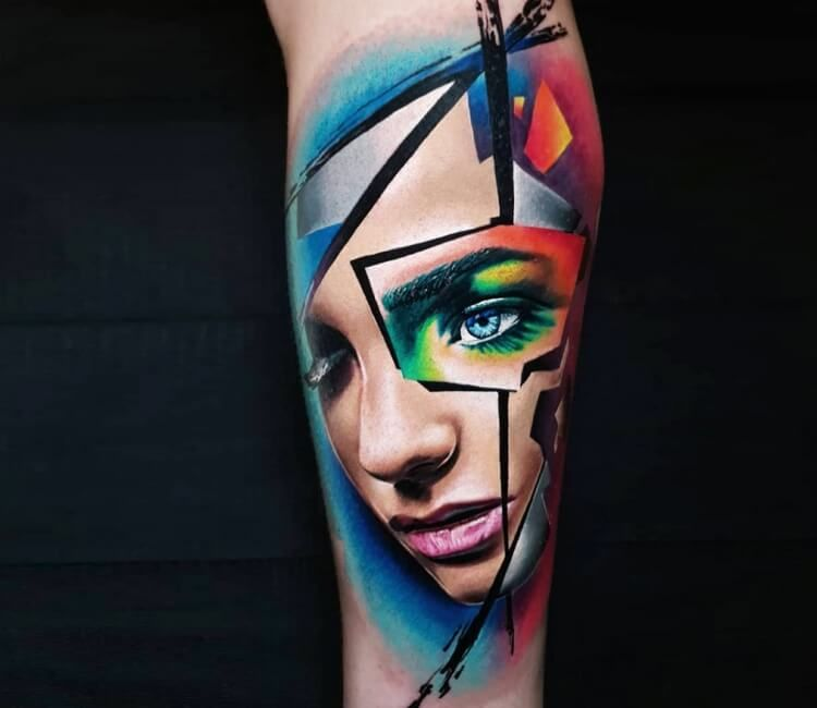 Girl Face Tattoo By Marek Hali Girl Face Tattoo Face Tattoo