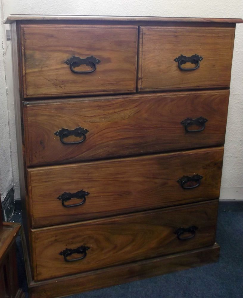 Solid Sheesham Indian Rosewood Chest Of Drawers With Metal Handles W49 Ebay