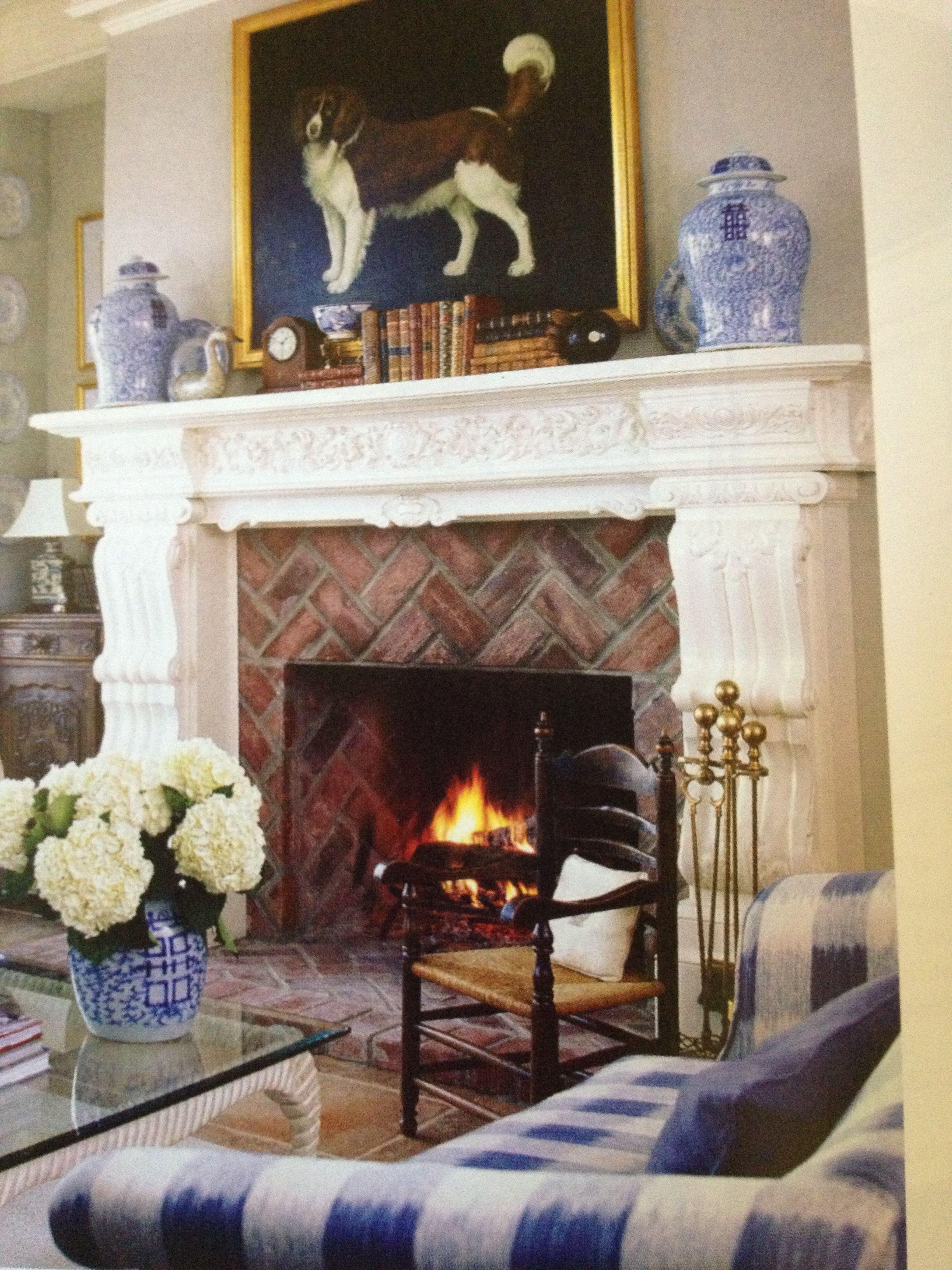 Brick fireplace   Living room designs, Living room modern