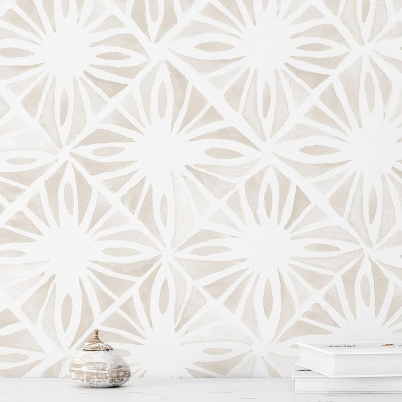 Moroccan Wind Wallpaper Linen Color Moroccan Tile Wallpaper Peel And Stick Wallpaper Removable Accent Wall Multiple Colors Available Moroccan Tile Tile Wallpaper Wallpaper