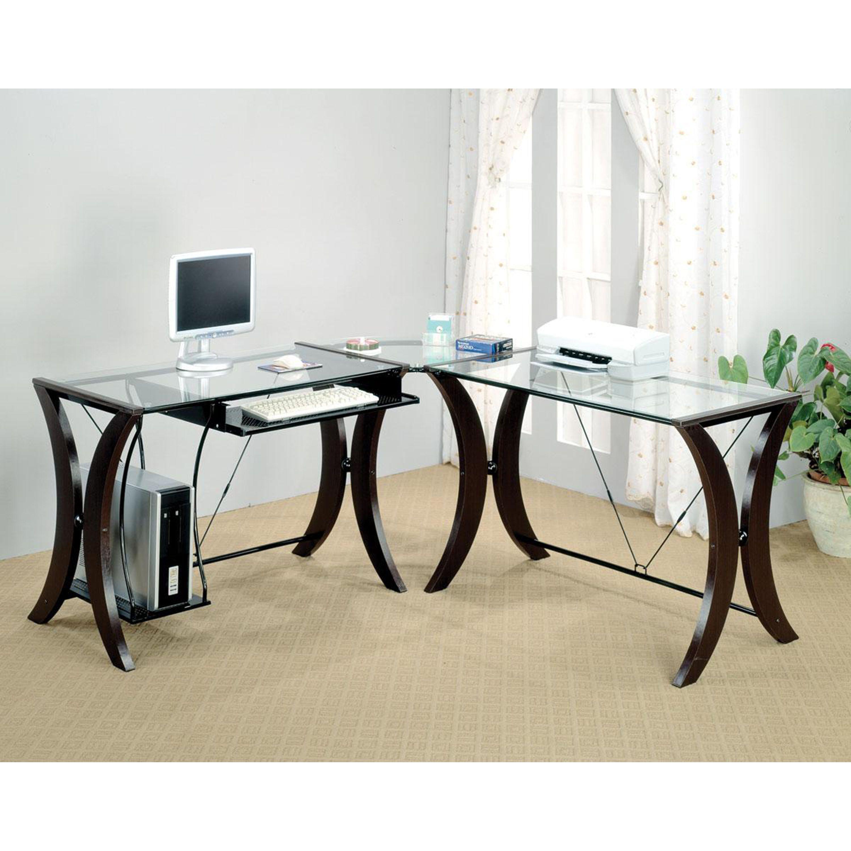 Venetian Worldwide Lakewood Glass Top Corner Desk in Cappuccino Finish, Brown
