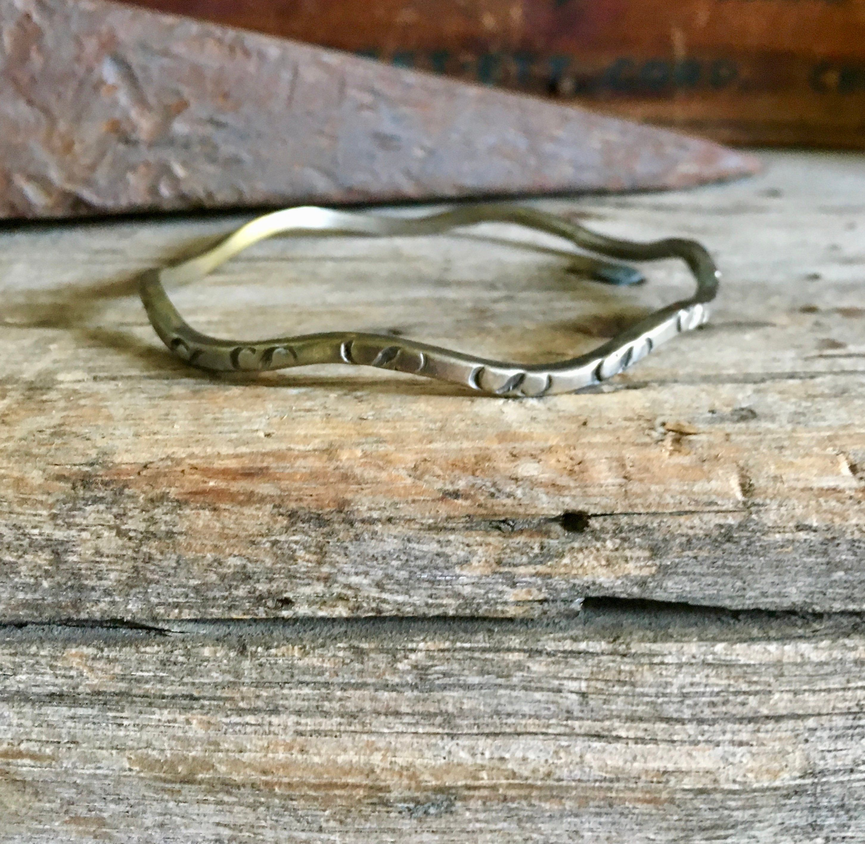 Sterling Silver Bangle Wavy Wave Stamped Oxidized