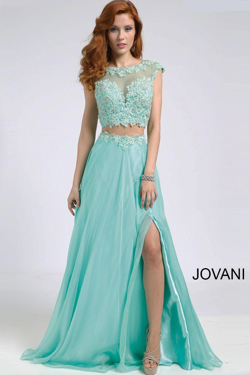 Jovani Mint Two-Piece Chiffon Dress with Open Back 98517 | Prom ...