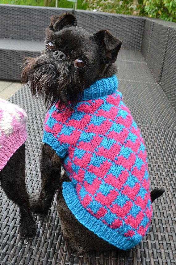 Heart Patterned Dog Sweater Knitting Pattern Pdf by willieratbag ...