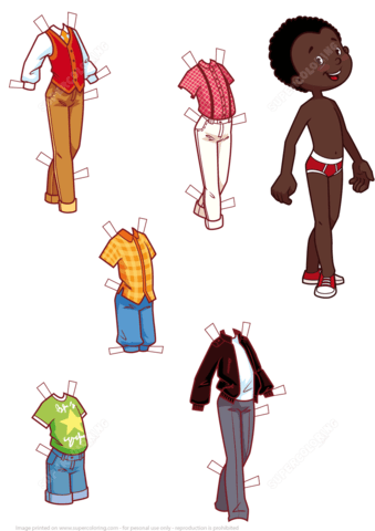 five stylish outfits for a cute african american boy paper doll