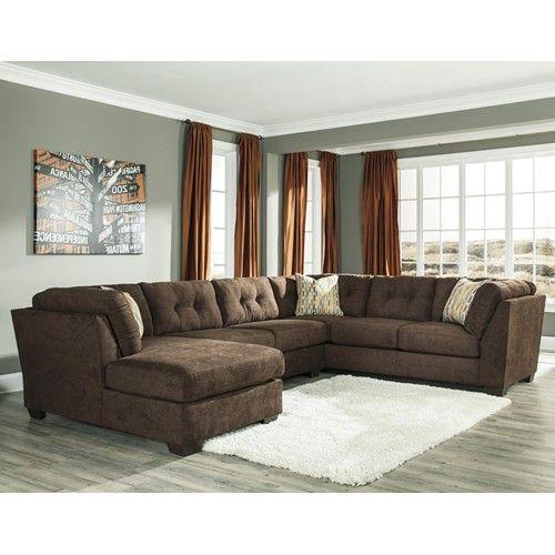 Groovy Ashley Benchcraft Delta City Chocolate 3 Piece Modular Beatyapartments Chair Design Images Beatyapartmentscom