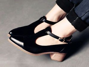 Korean-Womens-Suede-Buckle-Strap-Pointed-Toe-Shoes-Low-Chunky-Heels-New-Fashion