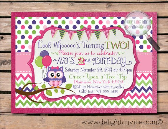 Look Whos Turning 2 Owl Birthday Invitations