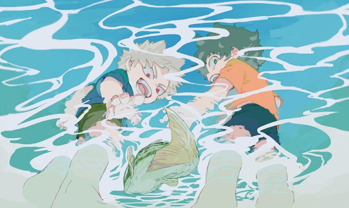 Little Bakugou Kacchan And Midoriya Deku Dekubaku Bakudeku My Hero Academia Shouto Kids Hero Anime