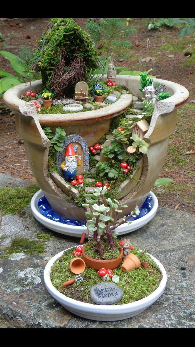 Photo of Miniature garden idea – I love how there is more than one flower pot