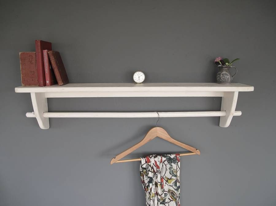 Wooden Clothes Rail With Top Shelf
