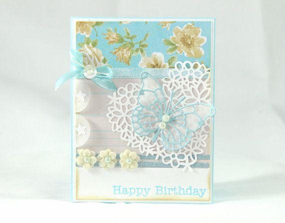 Happy Birthday Card Shabby Chic Floral Card by CardamomsArt