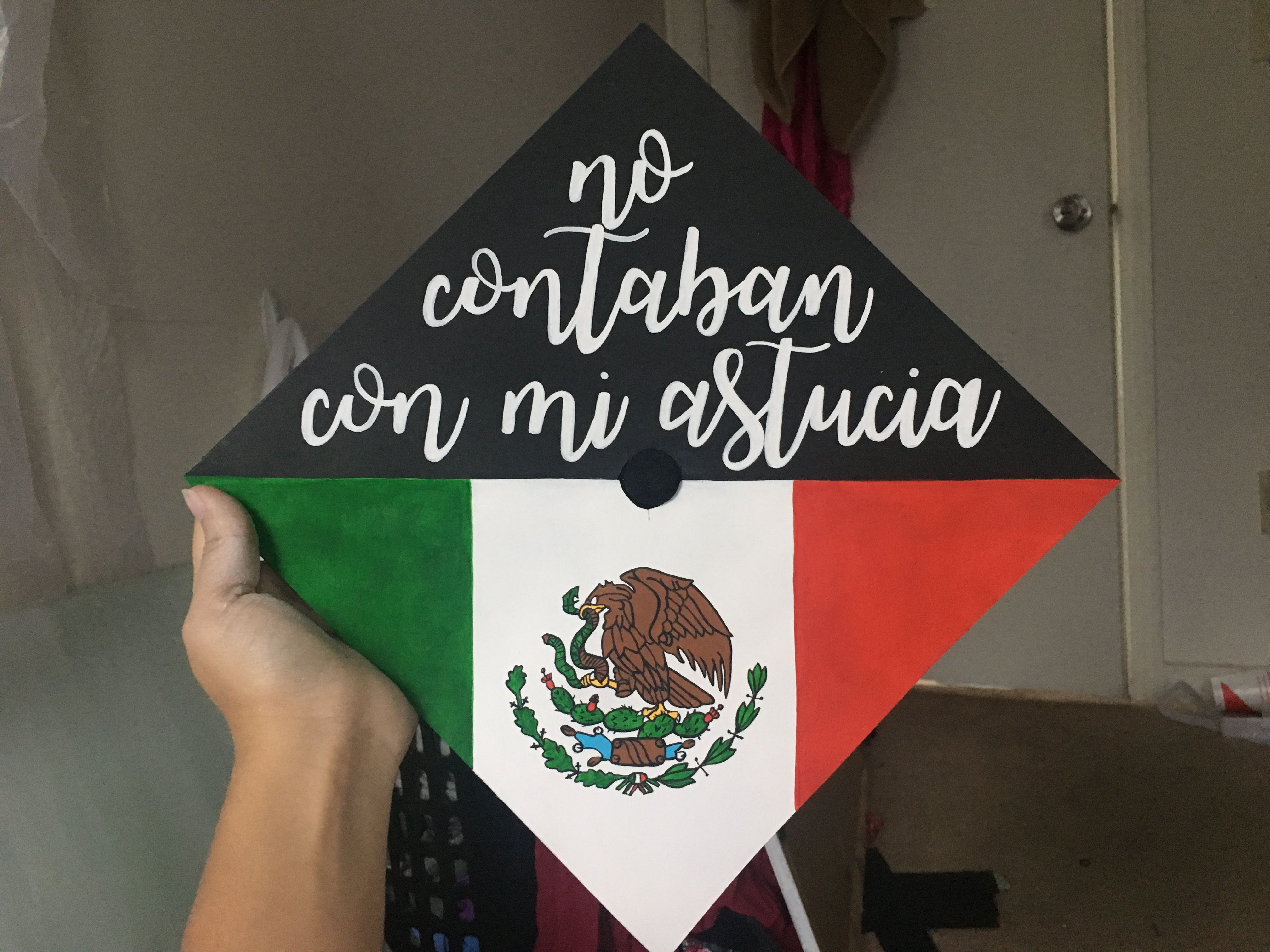 mexican flag painted graduation cap crazy cooler lady