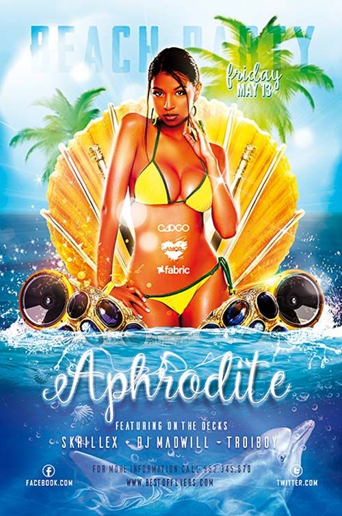 Aphrodite Beach Party Free Flyer Template  HttpFreepsdflyer