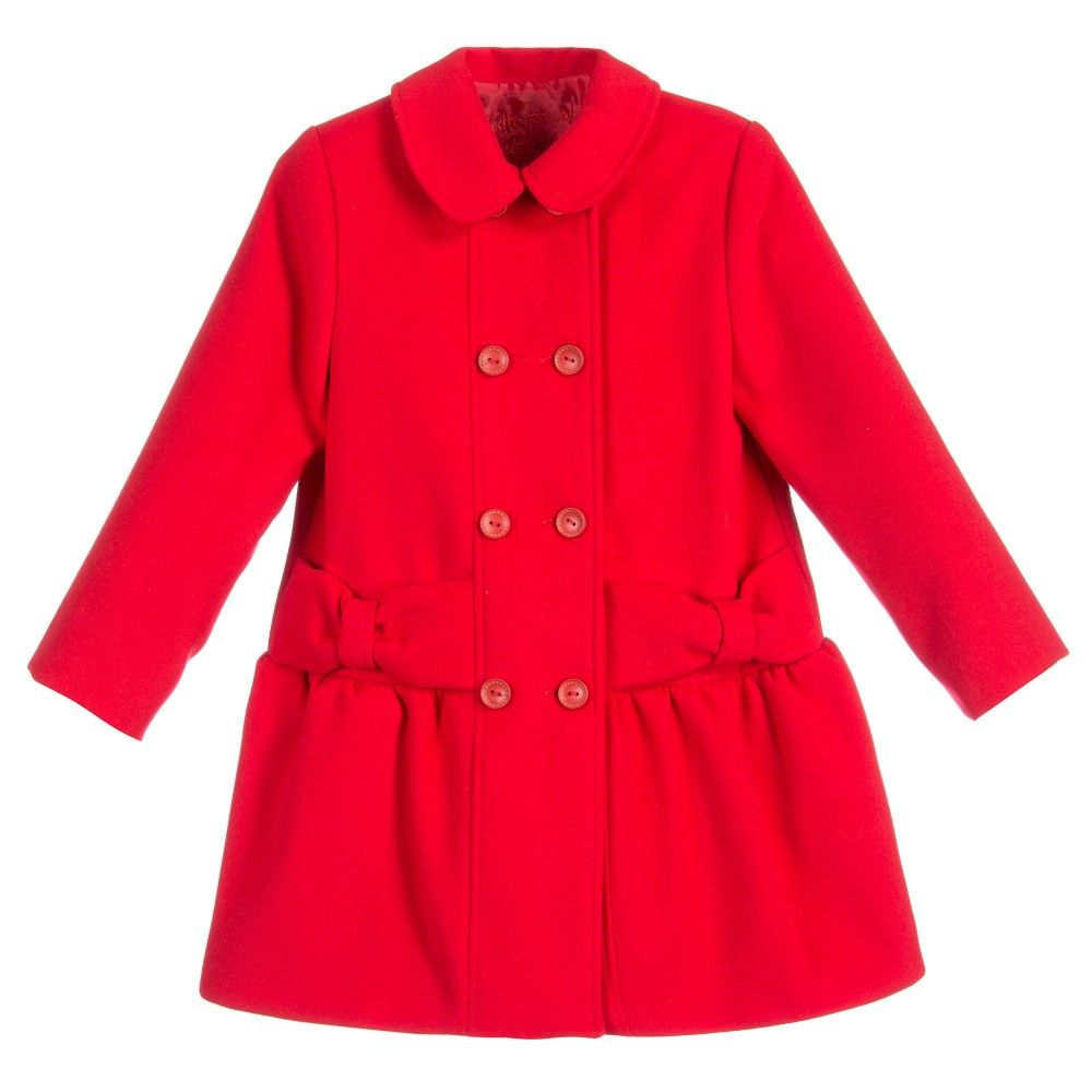 Girls Red Coat with Bow Details