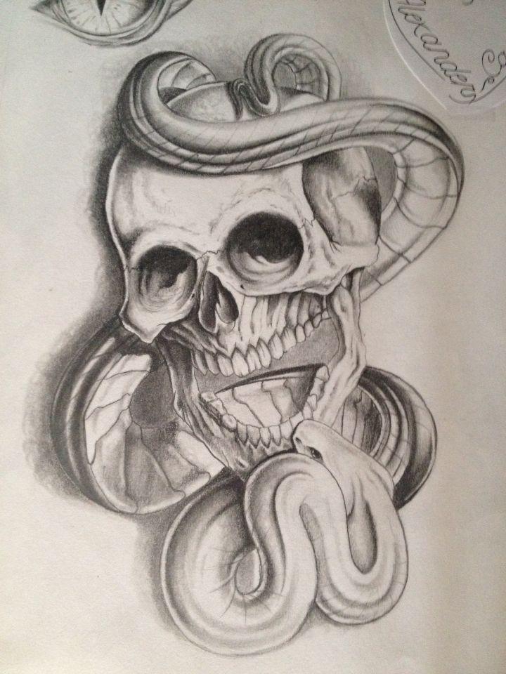 skull and snake done in pencil my sketchbook