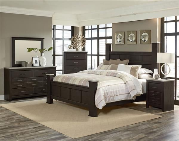 Stonehill Dark Brown Pecan Wood 5pc Bedroom Set w/King Kd Poster Bed - Poster Bedroom Sets
