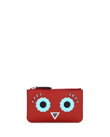 FENDI Faces Leather Key Pouch, Red/Multi. #fendi #
