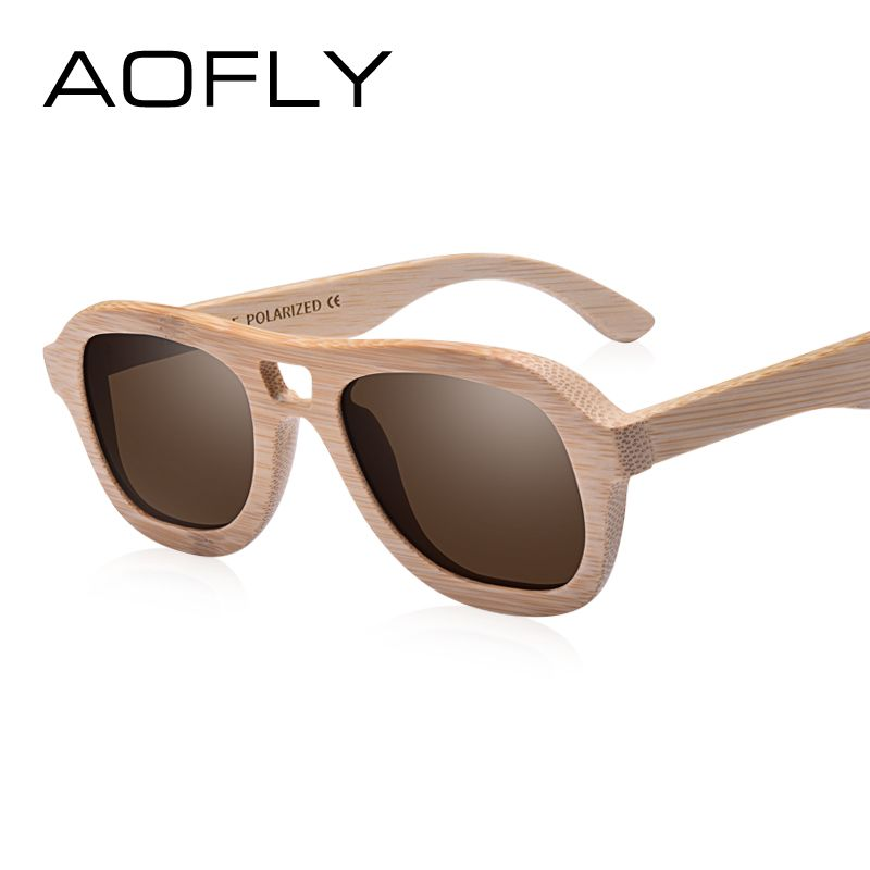 3c7754c572 AOFLY BRAND DESIGN Wooden Polarized Sunglasses for Women Handmade Bamboo Frame  Sunglasses Fashion Twin-Beams