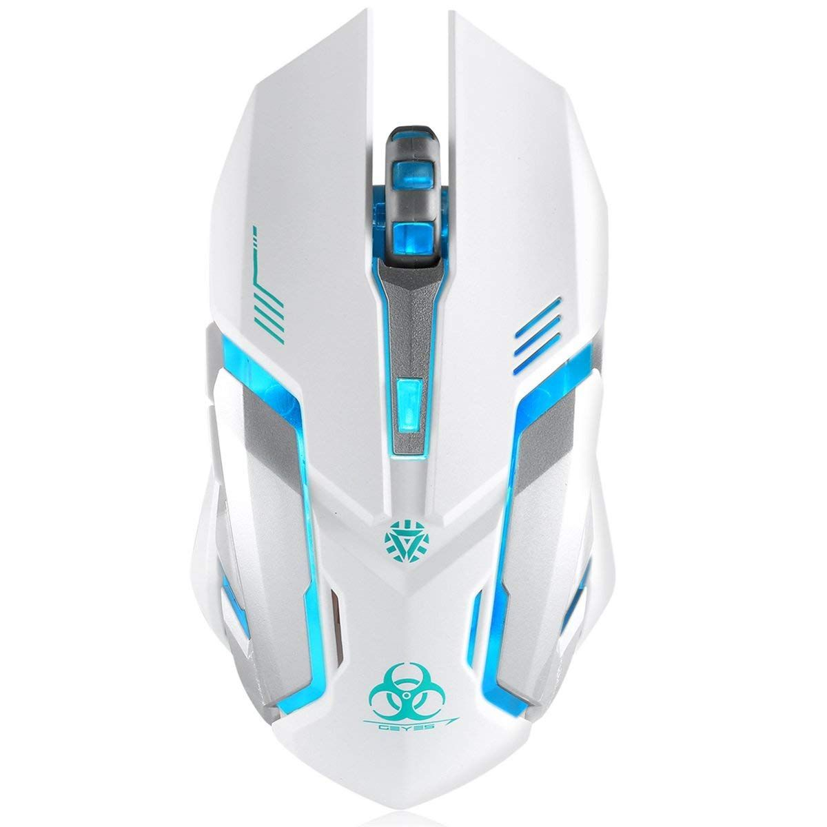 cd33013ca34 Wireless Gaming Mouse, VEGCOO C8 Silent Click Wireless Rechargeable Mouse  with Colorful LED Lights and 2400/1600/1000 DPI 400mah Lithium Battery for  Laptop ...