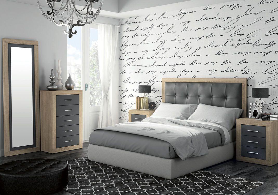 moderno dormitorio de matrimonio compuesto por cabecero
