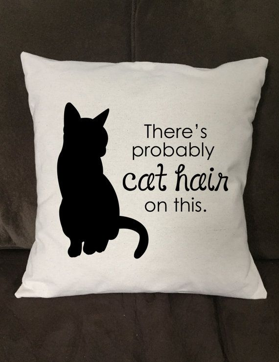 Funny Throw Pillow Covers : Cat Pillow Cover, Throw Pillow Cover, Cat Hair Pillow Cover, Funny Cat Quote Pillow Cover, There ...