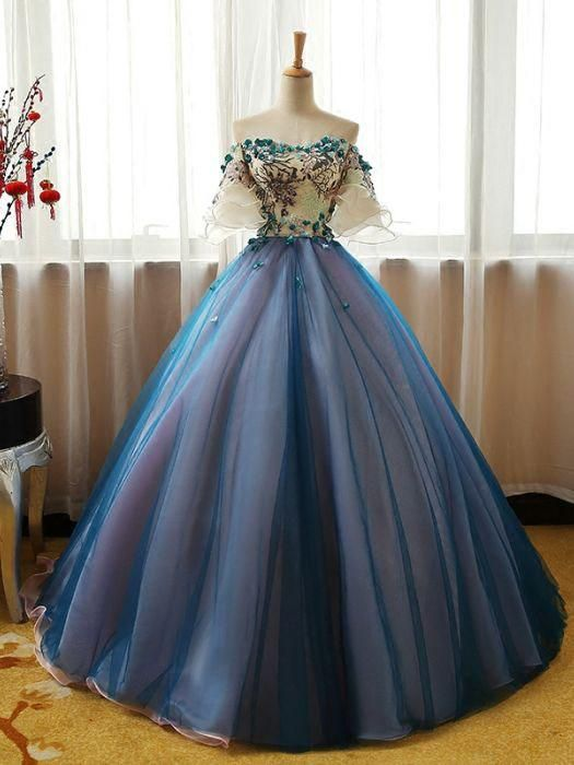 Chic A-line Ball Gowns Prom Dress Off-the-shoulder Organza Blue Applique Evening Dress AM772 #promthings