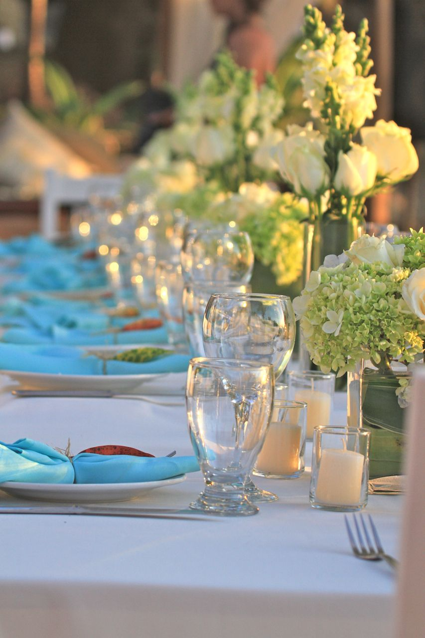 Teal Blue, Green & White Inspired wedding decor by www.NosaraWeddingsEvents.com