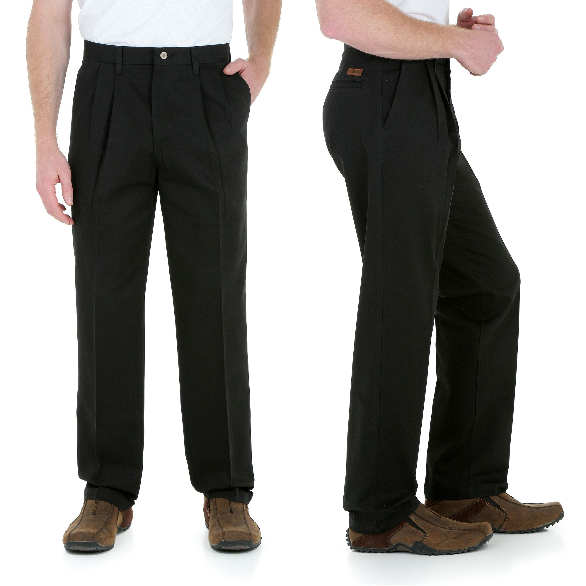 Wrangler Big and Tall Wrinkle and Stain Resistant Pleated Pants Black Big and Tall Mens Clothing at Big & Tall Pants Warehouse