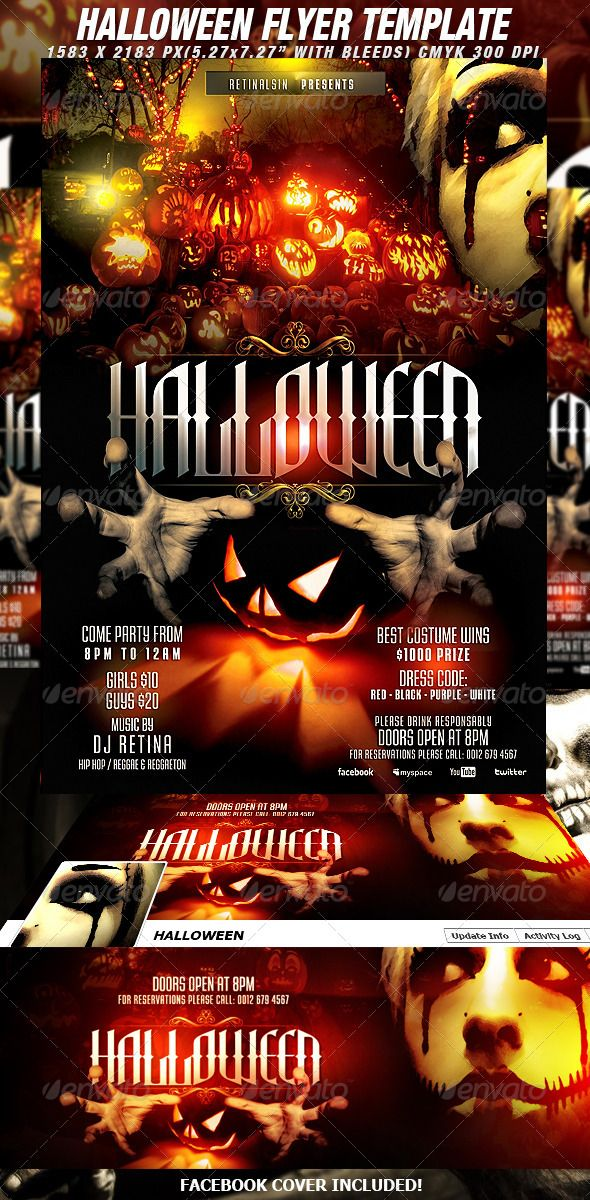 halloween flyer template fb cover - Halloween Music For Parties