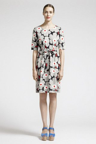 Mahtis Unikko Dress Black/Sandy Grey/Red | Kiitos Marimekko